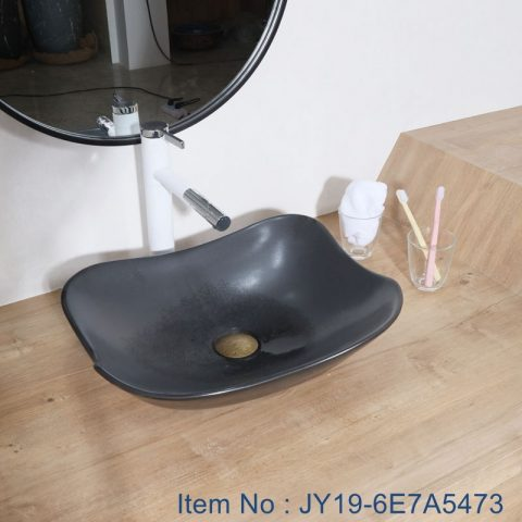 JY19-6E7A5473 Wholesale artistic color glazed oval bathroom ceramic washbasin