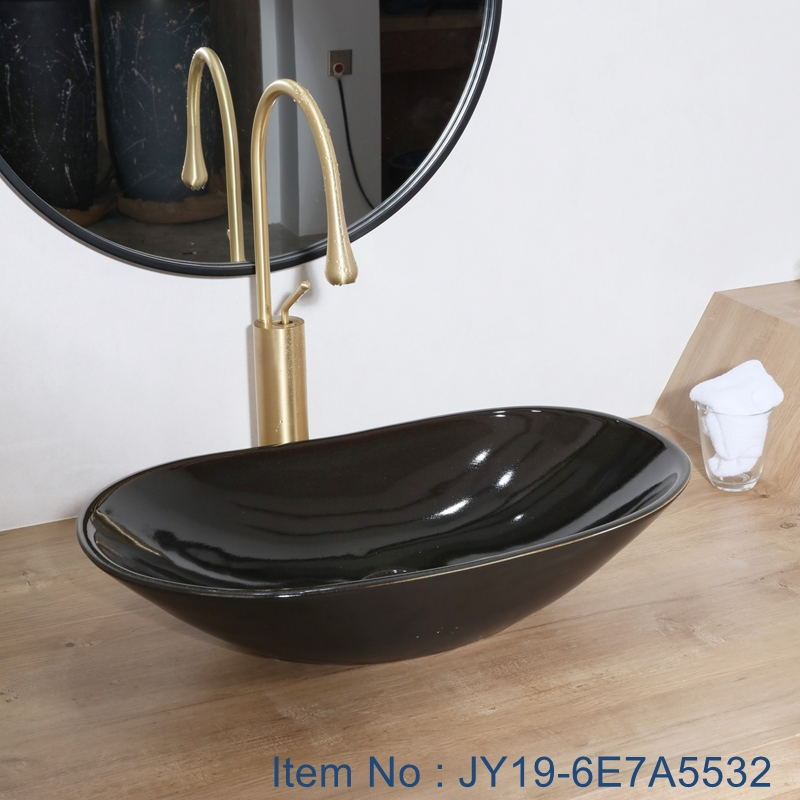 JY19-6E7A5532_看图王 JY19-6E7A5532 China wholesale color glazed bathroom porcelain table top vanity basin - shengjiang  ceramic  factory   porcelain art hand basin wash sink