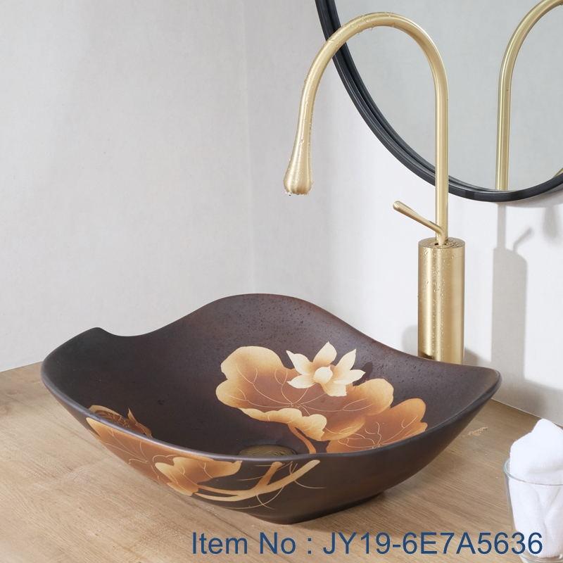 JY19-6E7A5636_看图王 JY19-6E7A5636 China wholesale color glazed bathroom porcelain table top vanity basin - shengjiang  ceramic  factory   porcelain art hand basin wash sink