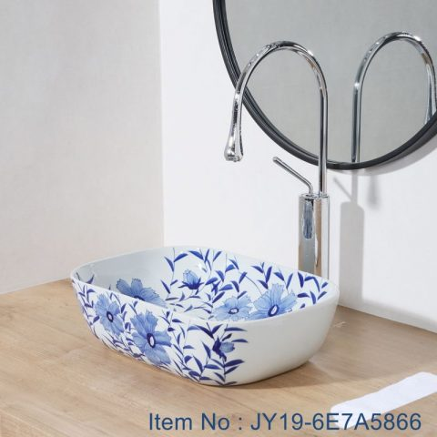 JY19-6E7A5866 China wholesale color glazed flower pattern  bathroom porcelain table top vanity basin