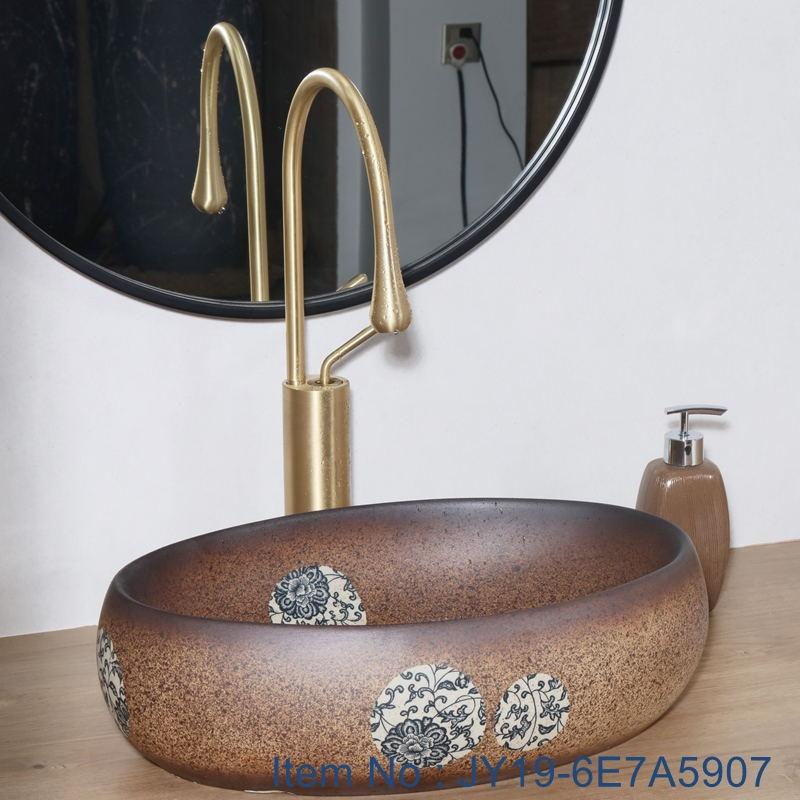 JY19-6E7A5907_看图王 JY19-6E7A5907 China wholesale color glazed bathroom porcelain table top vanity basin - shengjiang  ceramic  factory   porcelain art hand basin wash sink