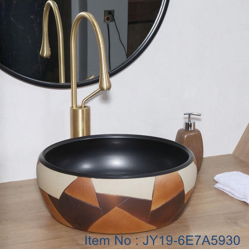 JY19-6E7A5930_看图王 JY19-6E7A5930 China wholesale color glazed bathroom porcelain table top vanity basin - shengjiang  ceramic  factory   porcelain art hand basin wash sink