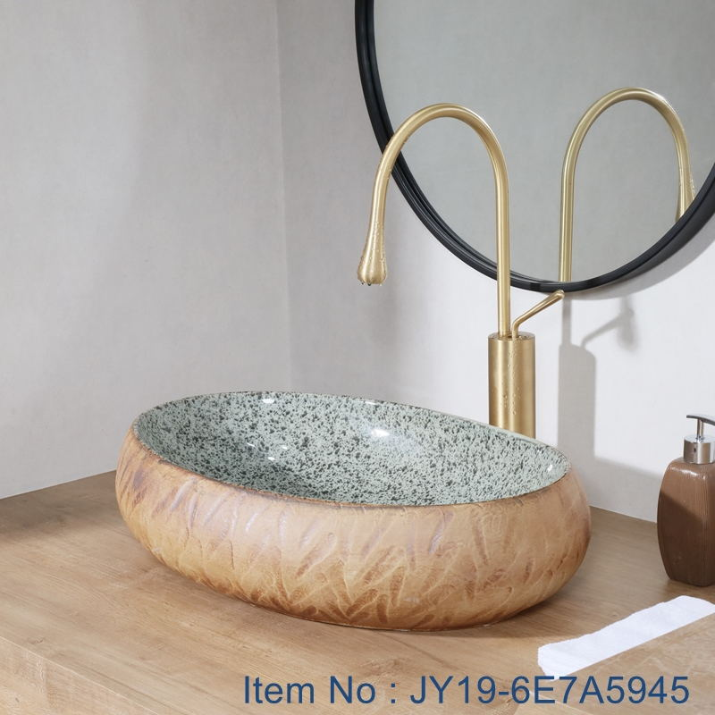 JY19-6E7A5945_看图王 JY19-6E7A5945 Wholesale artistic color glazed oval bathroom high quality ceramic washbasin - shengjiang  ceramic  factory   porcelain art hand basin wash sink