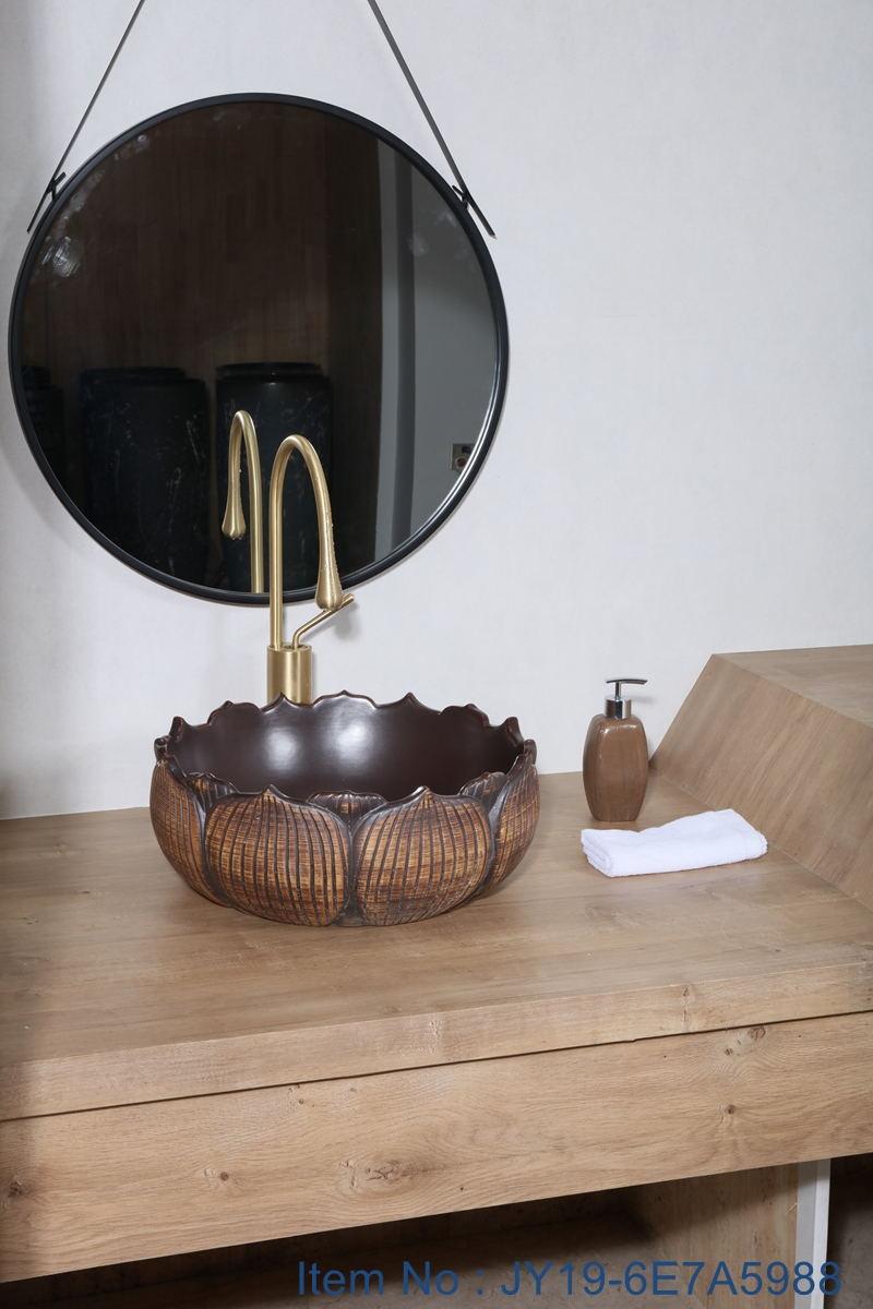 JY19-6E7A5988_看图王 JY19-6E7A5988 China wholesale color glazed bathroom porcelain table top vanity basin - shengjiang  ceramic  factory   porcelain art hand basin wash sink