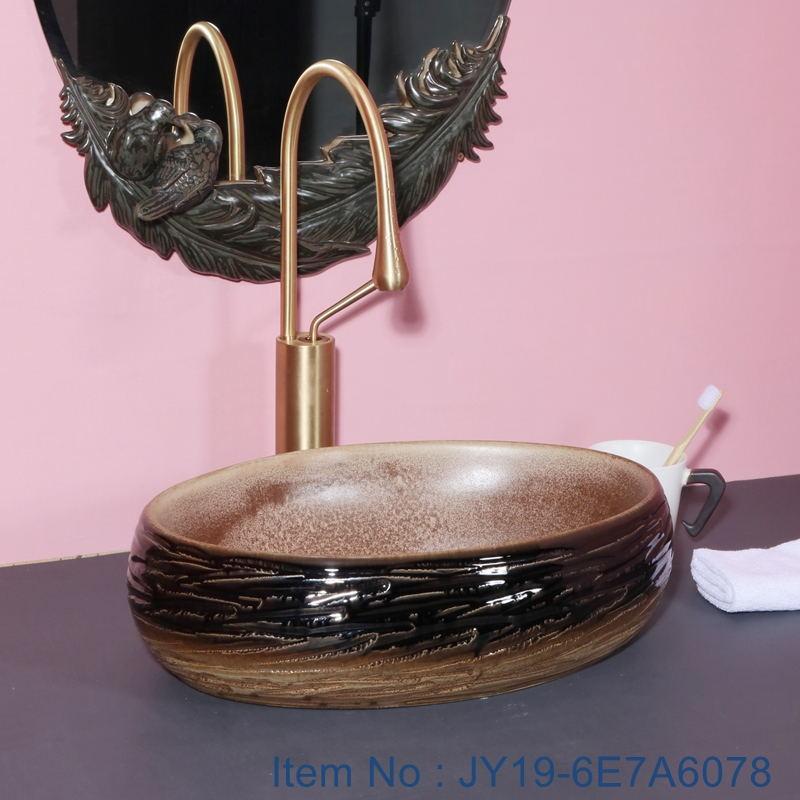JY19-6E7A6078_看图王 JY19-6E7A6078 Wholesale artistic color glazed oval bathroom ceramic washbasin - shengjiang  ceramic  factory   porcelain art hand basin wash sink