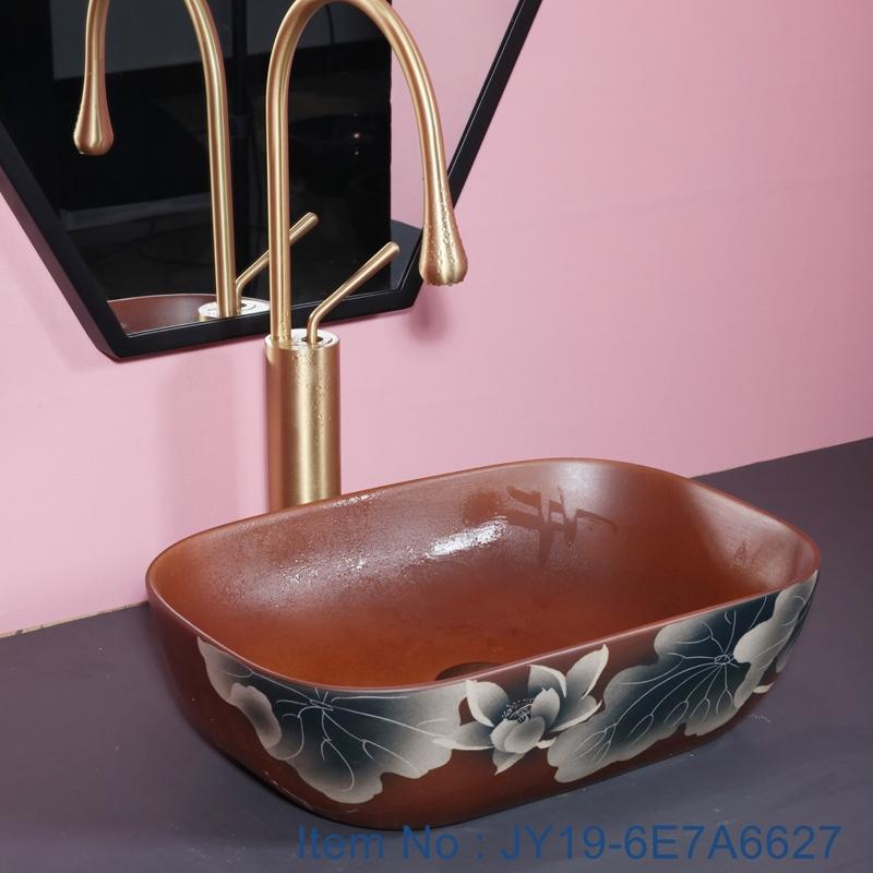 JY19-6E7A6627 JY19-6E7A6627 Jingdezhen unique design art ceramic one piece freestanding basin - shengjiang  ceramic  factory   porcelain art hand basin wash sink