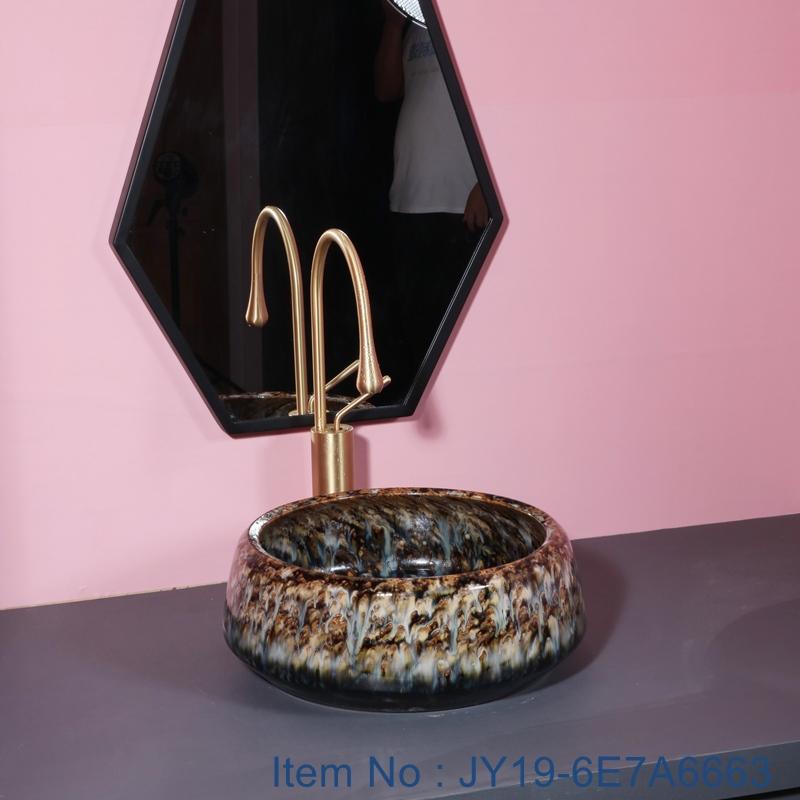 JY19-6E7A6663 JY19-6E7A6663 Wholesale artistic color glazed oval bathroom ceramic washbasin - shengjiang  ceramic  factory   porcelain art hand basin wash sink