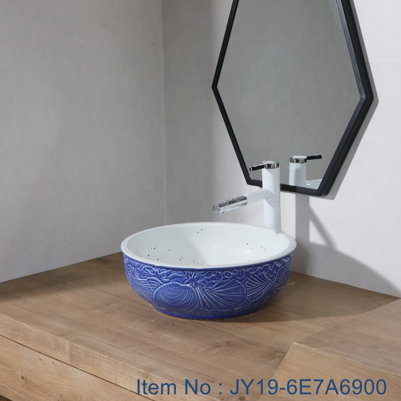 JY19-6E7A6900 JY19-6E7A6900 New produced Jingdezhen Jiangxi typical  art ceramic sink - shengjiang  ceramic  factory   porcelain art hand basin wash sink