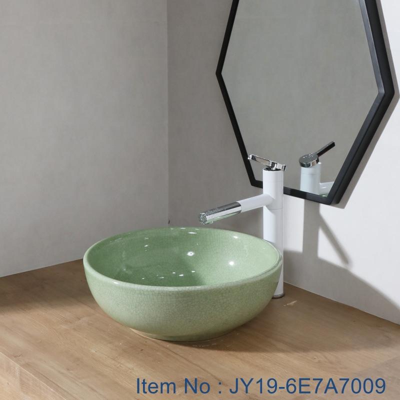 JY19-6E7A7009 JY19-6E7009 China traditional high quality bathroom ceramic made from Jingdezhen Shengjiang ceramic factory - shengjiang  ceramic  factory   porcelain art hand basin wash sink