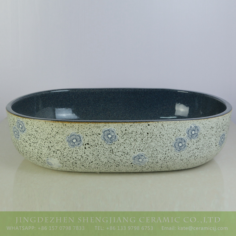 sjbyl-6005-(大椭圆)花釉墨点冰梅 sjbyl-6005   Jingdezhen wholesale porcelain with flowers pattern surface durable wash sink - shengjiang  ceramic  factory   porcelain art hand basin wash sink