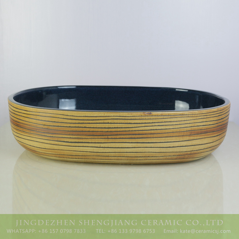 sjbyl-6007-(大椭圆)花釉铁红平行线 sjbyl-6007  Wood color with hand carved stripe oval durable basin - shengjiang  ceramic  factory   porcelain art hand basin wash sink