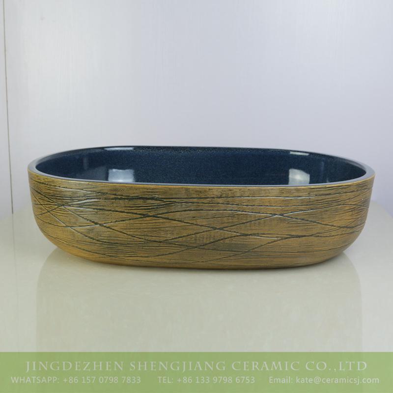 sjbyl-6008-(大椭圆)交叉细线花釉 sjbyl-6008   The best price hand carved surface and smooth black color inside sink - shengjiang  ceramic  factory   porcelain art hand basin wash sink