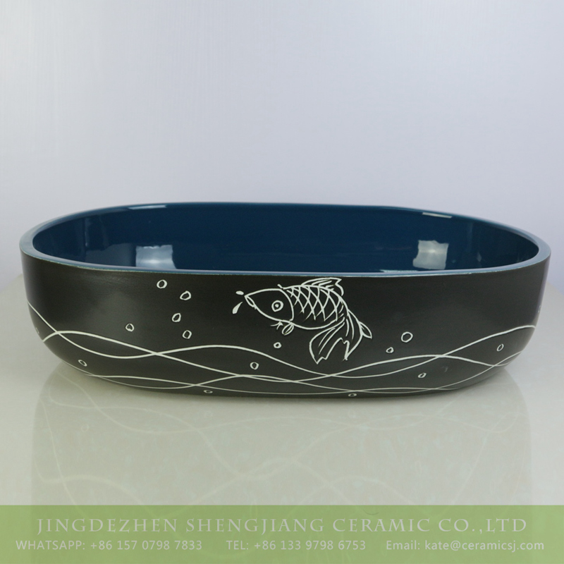 sjbyl-6009-(大椭圆)金鱼 sjbyl-6009  Hot sale produce black smooth ceramic with hand painted fish pattern wash sink - shengjiang  ceramic  factory   porcelain art hand basin wash sink
