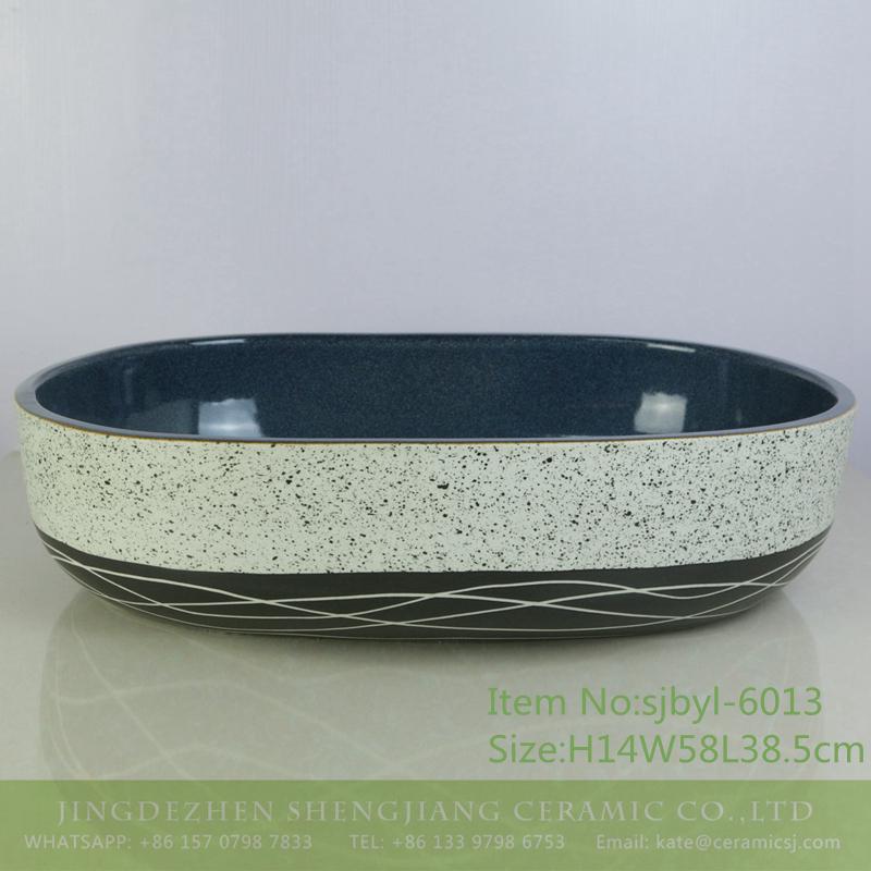 sjbyl-6013-(大椭圆)半黑墨点线条内蓝 sjbyl-6013  Big ellipse half ink point stripe inside blue stage basin porcelain basin wash basin daily ceramic basin - shengjiang  ceramic  factory   porcelain art hand basin wash sink
