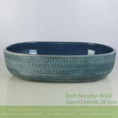 sjbyl-6024  Chinese style Daily ceramic basin large oval black clay enamel basin wash basin