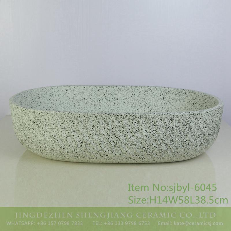 sjbyl-6045-(大椭圆)墨点岩刻 sjbyl-6045 Ink point rock pattern Chinese wash basin daily ceramic basin large oval porcelain basin - shengjiang  ceramic  factory   porcelain art hand basin wash sink