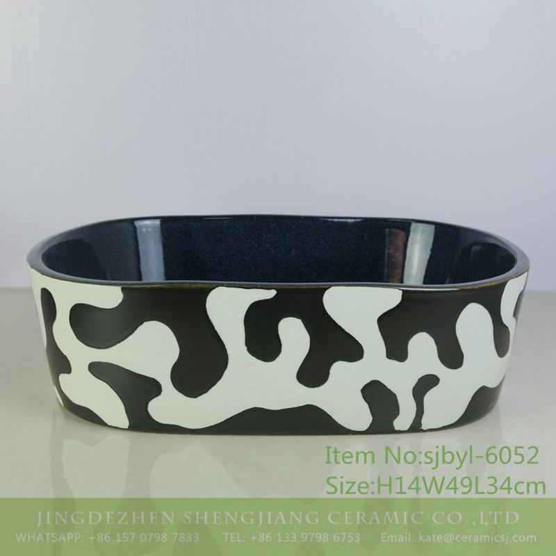 sjbyl-6052-(椭圆)奶牛 sjbyl-6052 Stylish dairy wash basin daily ceramic basin large oval porcelain basin - shengjiang  ceramic  factory   porcelain art hand basin wash sink