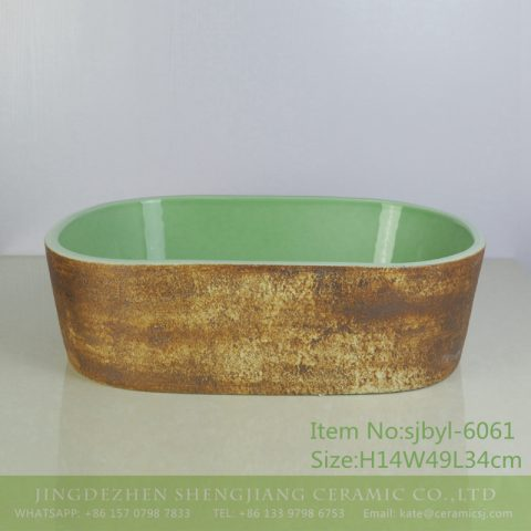 sjbyl-6061 Ancient green wash basin for daily use ceramic basin large oval porcelain basin