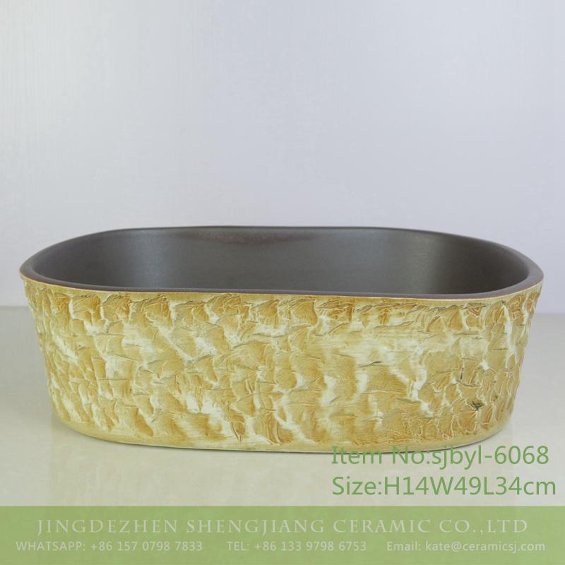sjbyl-6068-(椭圆)咖色黄岩刻 sjbyl-6068 Coffee yellow rock pattern wash basin daily ceramic basin large oval porcelain basin - shengjiang  ceramic  factory   porcelain art hand basin wash sink