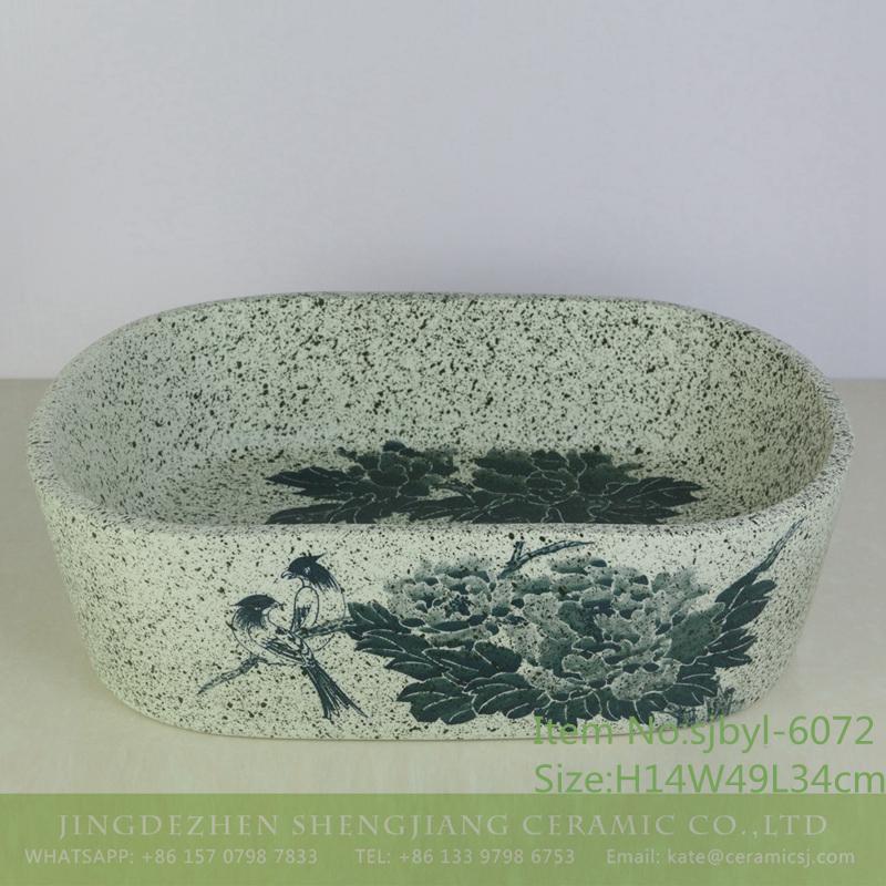 sjbyl-6072-(椭圆)牡丹对鸟-1 sjbyl-6072 Peony bird wash basin daily ceramic basin large oval porcelain basin - shengjiang  ceramic  factory   porcelain art hand basin wash sink