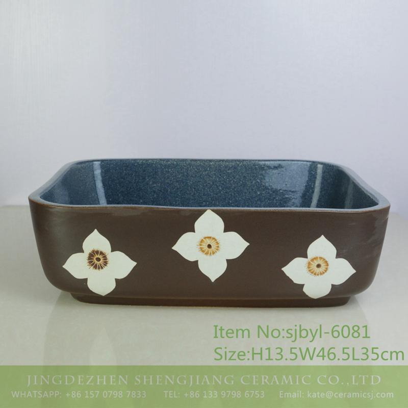 sjbyl-6081-(长)兰花四瓣百合 sjbyl-6081 Orchid four petals lily wash basin daily ceramic basin large oval porcelain basin - shengjiang  ceramic  factory   porcelain art hand basin wash sink