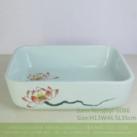 sjbyl-6086 Long branch freehand lotus flower wash basin daily ceramic basin large oval porcelain basin