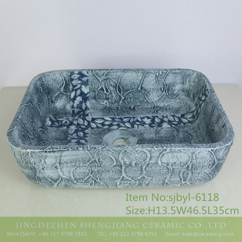 sjbyl-6118-(长)十字树叶 sjbyl-6118 Wash basin daily pottery and porcelain basin brunet imitate ancient ancient cloud big oval porcelain basin - shengjiang  ceramic  factory   porcelain art hand basin wash sink