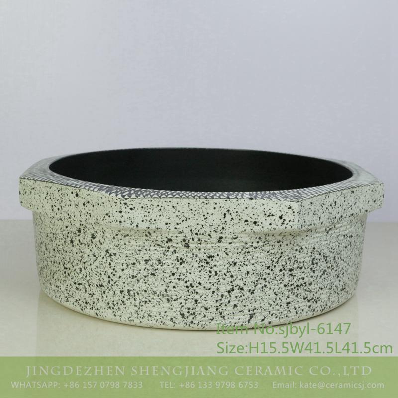 sjbyl-6147-八角网边墨点 sjbyl-6147 Octagonal mesh edge ink point style China ceramic basin daily use high-grade ceramic wash basin - shengjiang  ceramic  factory   porcelain art hand basin wash sink