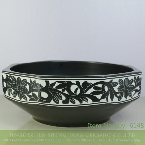 sjbyl-6148 China ceramic basin daily high-grade ceramic wash basin octagonal black and white pattern