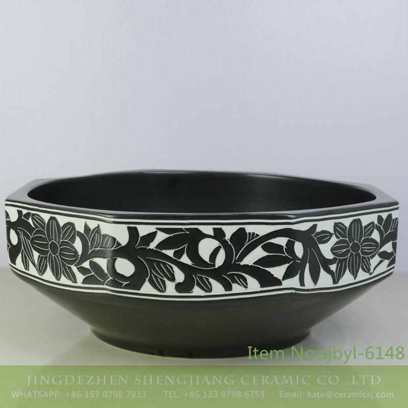 sjbyl-6148-八角黑白花-1 sjbyl-6148 China ceramic basin daily high-grade ceramic wash basin octagonal black and white pattern - shengjiang  ceramic  factory   porcelain art hand basin wash sink