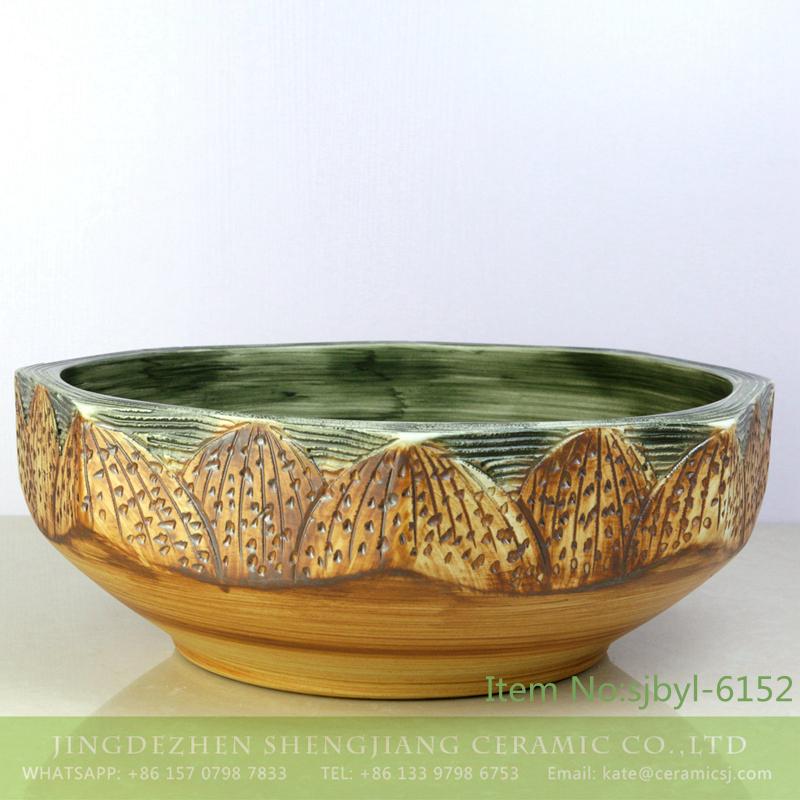 sjbyl-6152-八角荷花台 sjbyl-6152 Octagonal lotus table pattern daily use of high-grade ceramic wash basin China ceramic basin washroombasin - shengjiang  ceramic  factory   porcelain art hand basin wash sink