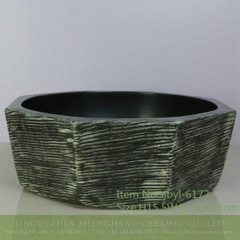 sjbyl-6172 Shengjiang Ceramic basin lavabo top grade household daily made in China anise graphite bathroomdesign washroom