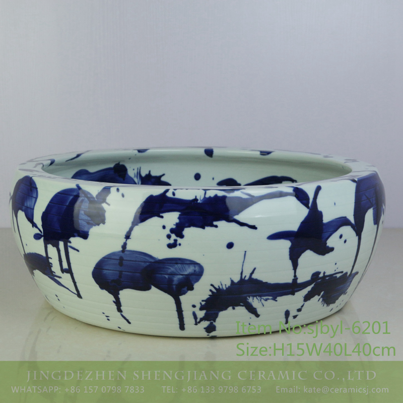 sjbyl-6201-青花泼洒 sjbyl-6201 Lavatory of pottery and porcelain basin lavatory beautiful high quality high-grade hand painted blue flower sprinkles decorative pattern pottery and porcelain - shengjiang  ceramic  factory   porcelain art hand basin wash sink
