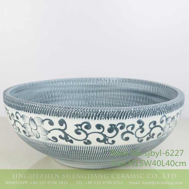 sjbyl-6227-蓝跳刀刻花穿枝莲-1 sjbyl-6227 Blue and white knives cut through the branches of the lotus porcelain basin sink bathroomdesign washsink ceramicbasin - shengjiang  ceramic  factory   porcelain art hand basin wash sink