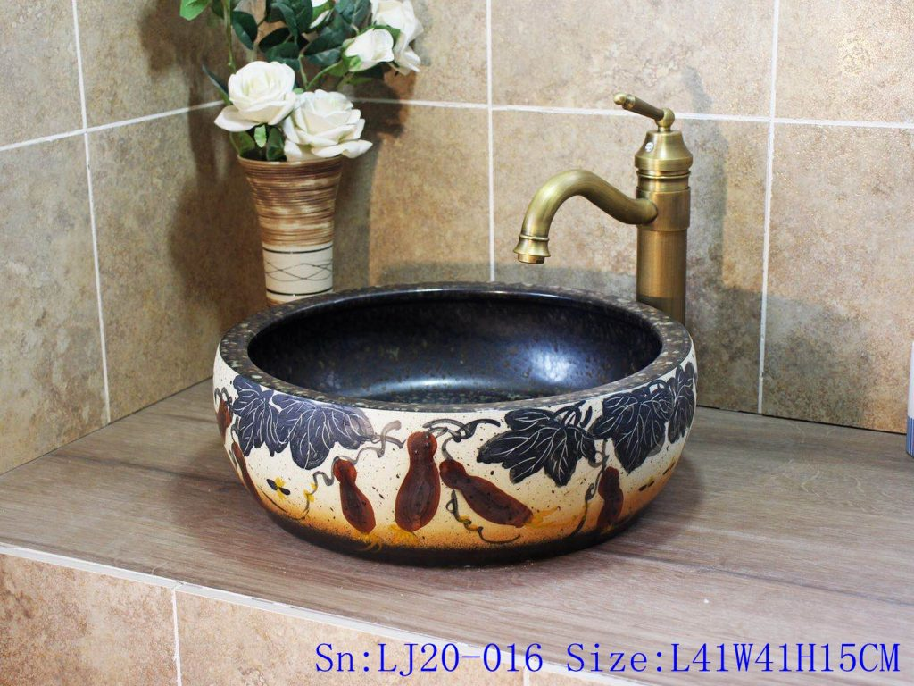 LJ20-016-1024x768 LJ20-016 Jingdezhen creative gourd decorative ceramic washbasin - shengjiang  ceramic  factory   porcelain art hand basin wash sink