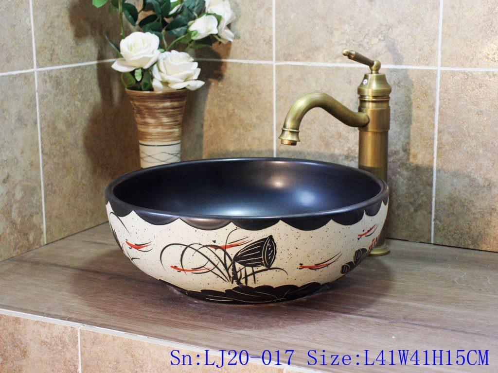 LJ20-017-1024x768 LJ20-017 Fish and lotus creative decorative round ceramic washbasin - shengjiang  ceramic  factory   porcelain art hand basin wash sink