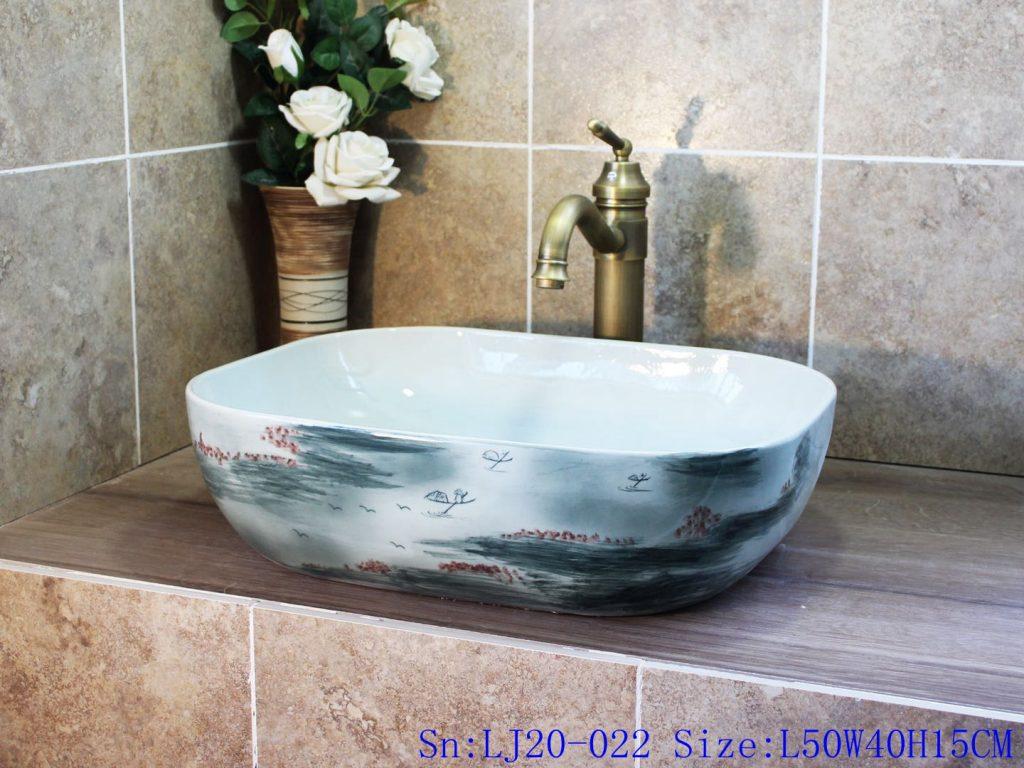 LJ20-022-1024x768 LJ20-022 Creative landscape design wax gourd shaped ceramic washbasin - shengjiang  ceramic  factory   porcelain art hand basin wash sink