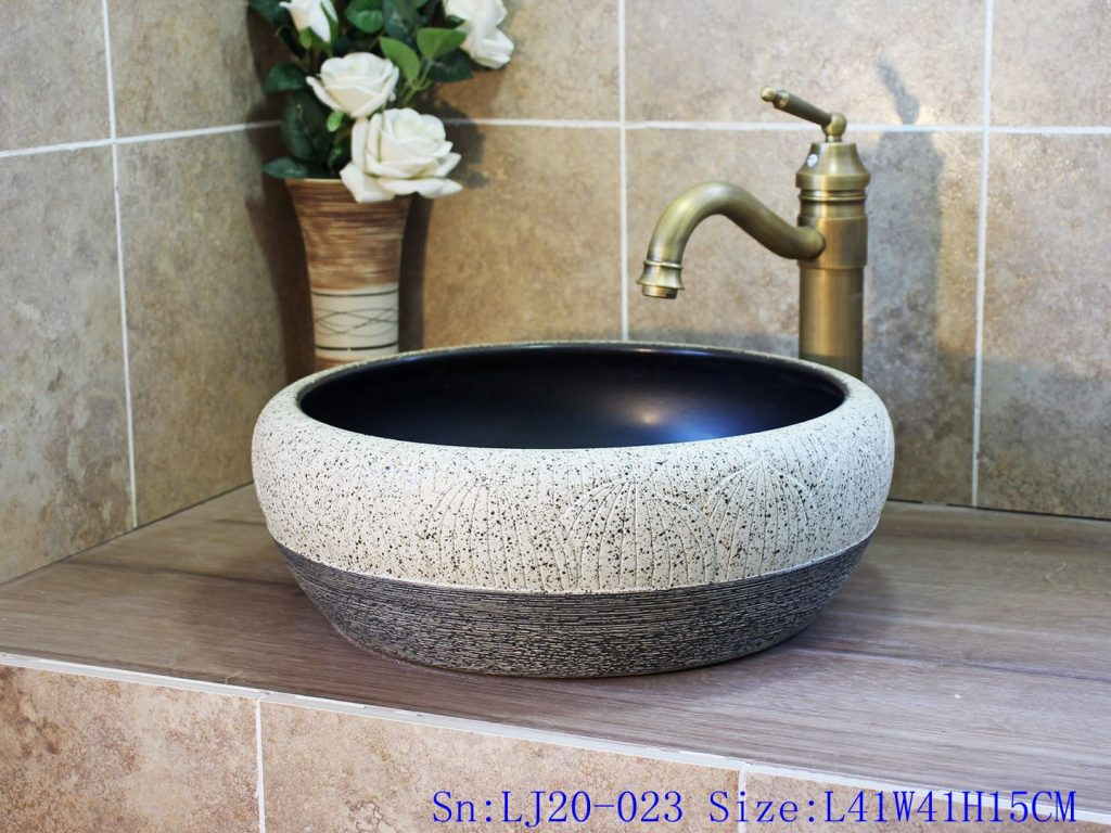 LJ20-023-1024x768 LJ20-023 Hand-embossed round ceramic washbasin - shengjiang  ceramic  factory   porcelain art hand basin wash sink