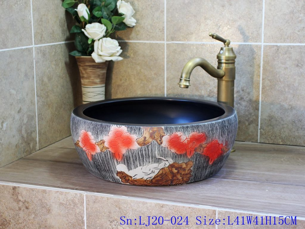 LJ20-024-1024x768 LJ20-024 Hand-painted watermelon red flower pattern round ceramic washbasin - shengjiang  ceramic  factory   porcelain art hand basin wash sink