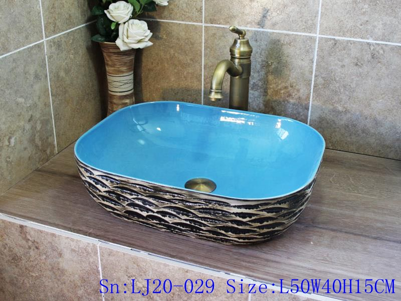 LJ20-029 LJ20-029 Special ceramic wash basin with wavy shape pattern - shengjiang  ceramic  factory   porcelain art hand basin wash sink