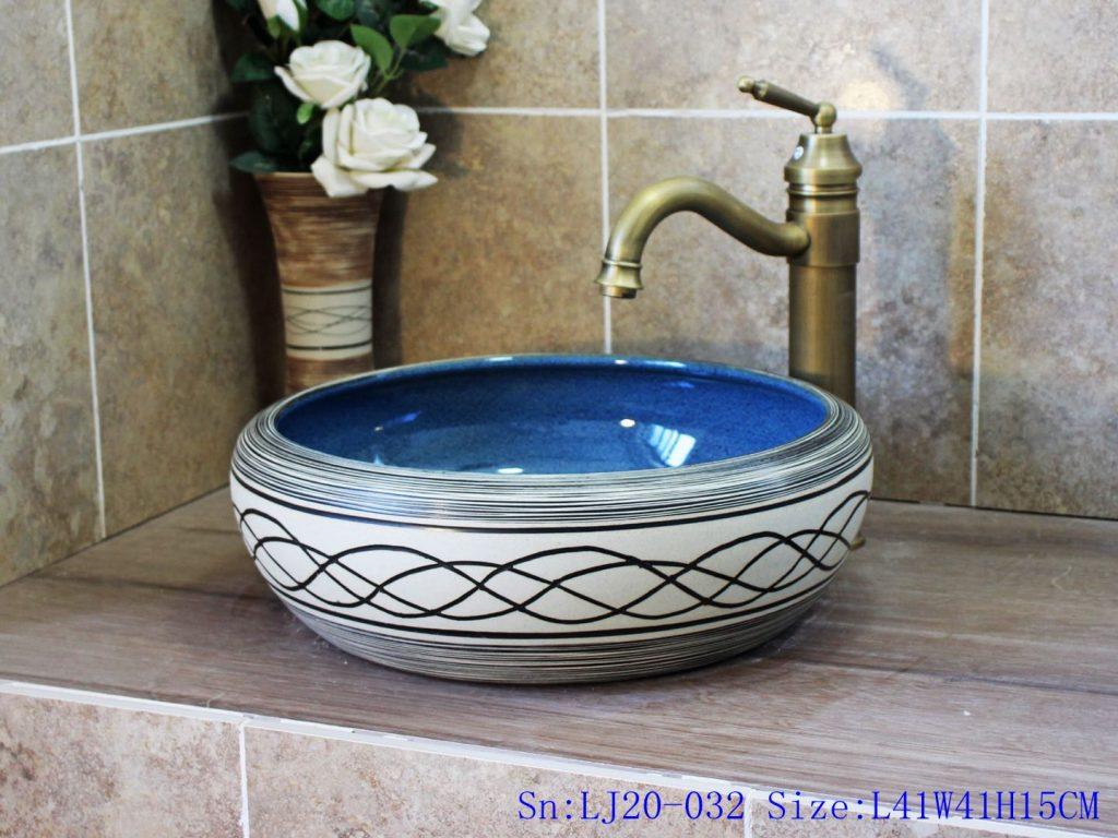 LJ20-032-1024x768 LJ20-032 Hand-painted modern line ceramic gourd shaped washbasin - shengjiang  ceramic  factory   porcelain art hand basin wash sink