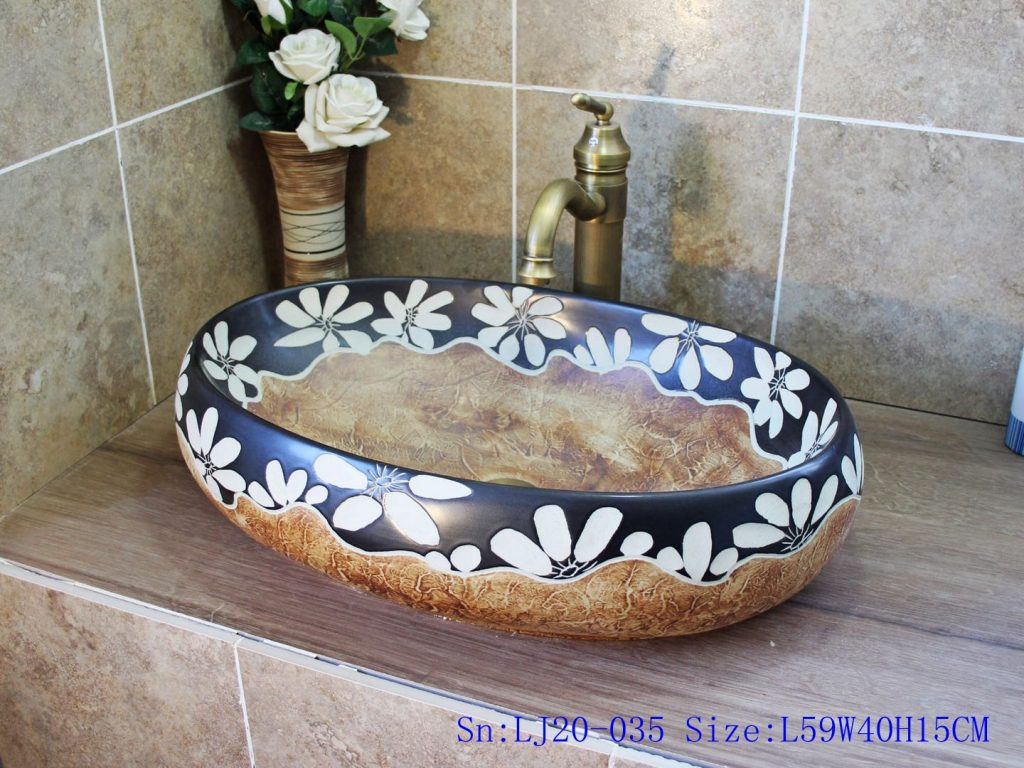 LJ20-035-1-1024x768 LJ20-035 Hand-painted white flower ceramic wooden wax gourd shaped washbasin - shengjiang  ceramic  factory   porcelain art hand basin wash sink