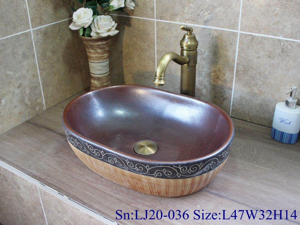 LJ20-036-1024x768 LJ20-036 Creative hand painted lines wooden gourd shaped washbasin - shengjiang  ceramic  factory   porcelain art hand basin wash sink