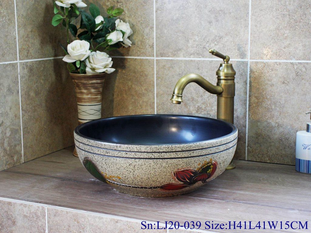 LJ20-039-1024x768 LJ20-039 Delicate hand - painted lotus and lotus leaf round washbasin - shengjiang  ceramic  factory   porcelain art hand basin wash sink