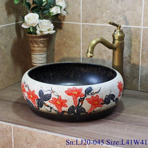 LJ20-045 Jingdezhen hand-painted flower design round washbasin