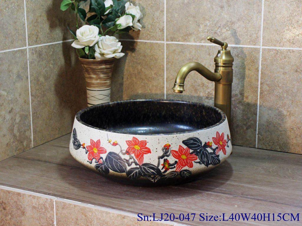 LJ20-047-1024x768 LJ20-047Hand-painted remote sunset design square washbasin - shengjiang  ceramic  factory   porcelain art hand basin wash sink