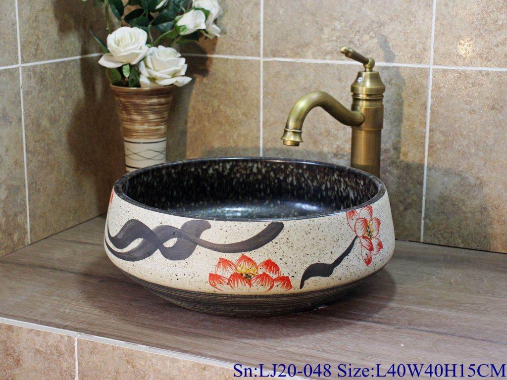 LJ20-048-1024x768 LJ20-048 Exquisite hand-painted Chinese style lotus round washbasin - shengjiang  ceramic  factory   porcelain art hand basin wash sink