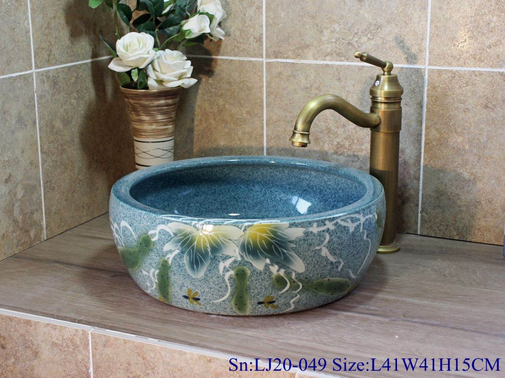 LJ20-049腰鼓1号L41W41H15-1-1024x768 LJ20-049 Delicate hand painted blue round washbasin with Chinese style design - shengjiang  ceramic  factory   porcelain art hand basin wash sink