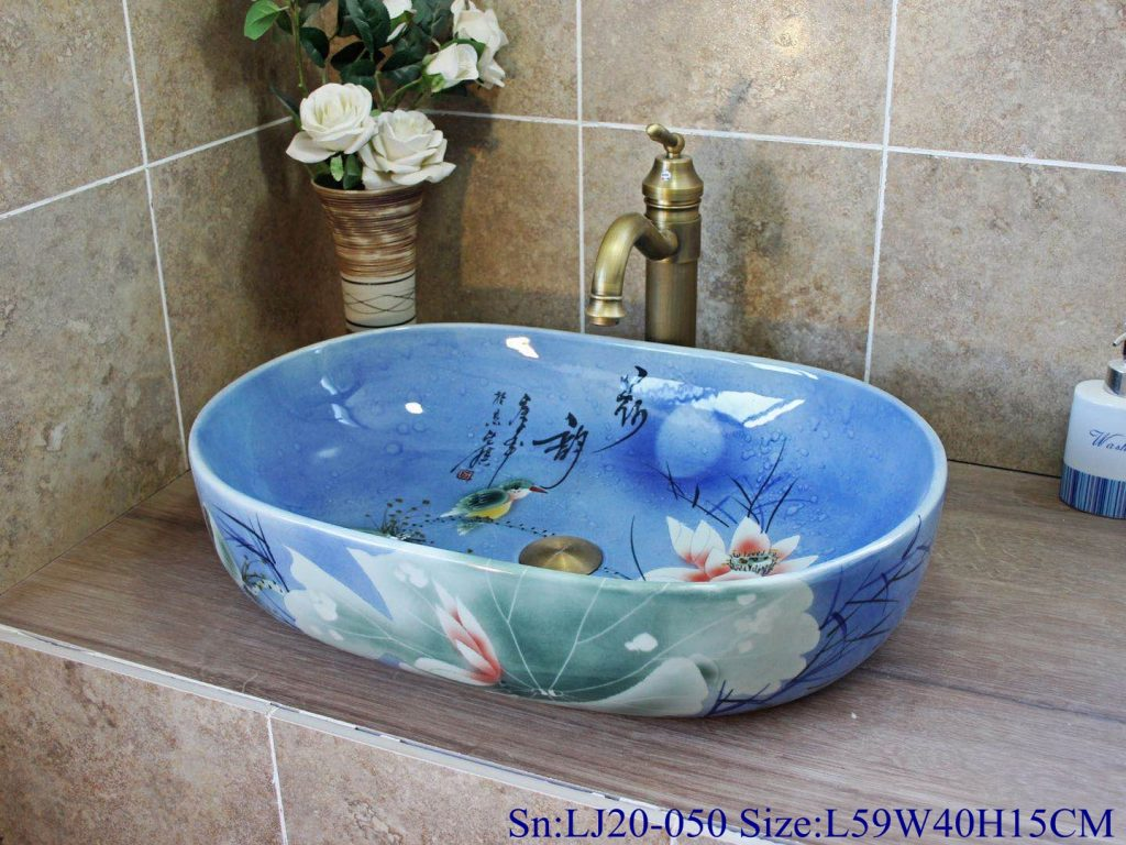 LJ20-050小冬瓜3号L47W32H14-1024x768 LJ20-050 Blue round washbasin with Chinese lotus pattern - shengjiang  ceramic  factory   porcelain art hand basin wash sink