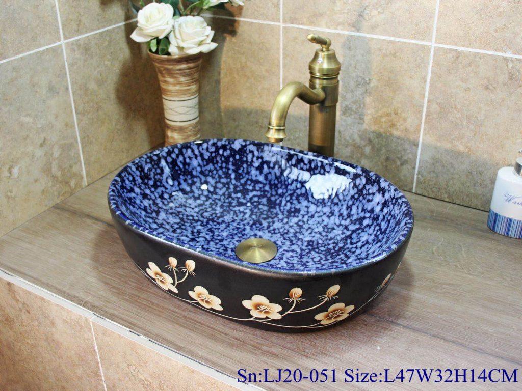 LJ20-051小冬瓜2号L47W32H14-1024x768 LJ20-051 Hand-painted remote sunset design square washbasin - shengjiang  ceramic  factory   porcelain art hand basin wash sink